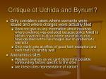 critique of uchida and bynum