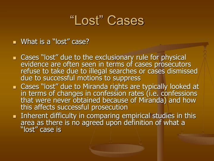 """Lost"" Cases"