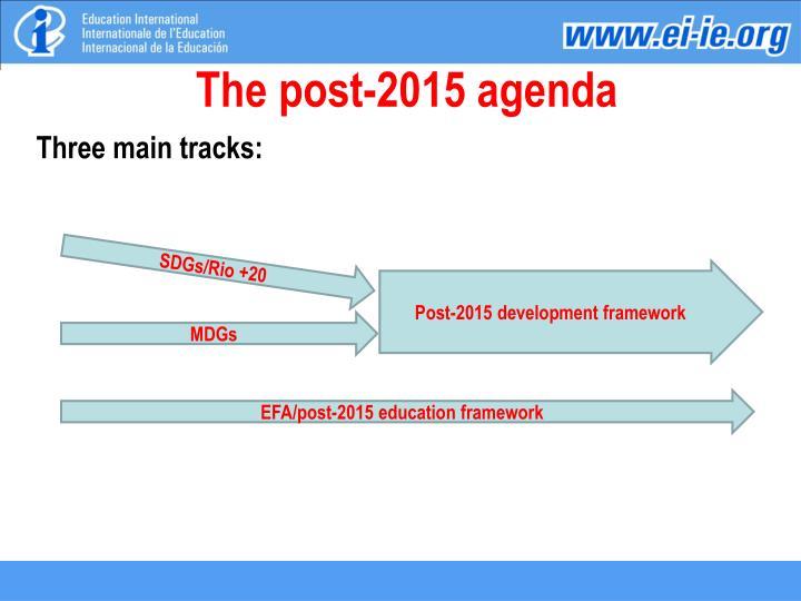 The post-2015 agenda