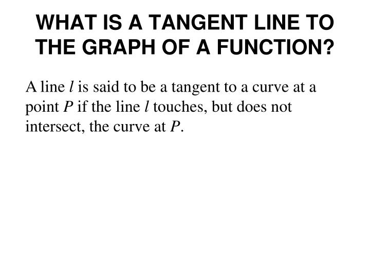 What is a tangent line to the graph of a function