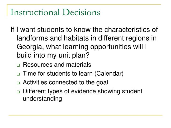 Instructional Decisions