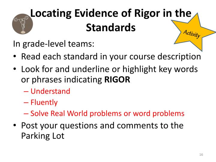 Locating Evidence of Rigor in the Standards