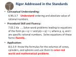 rigor addressed in the standards