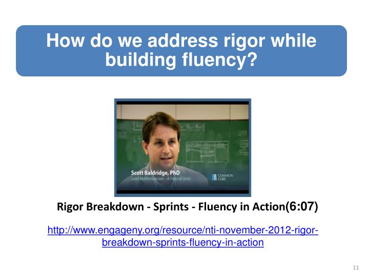 Rigor Breakdown - Sprints - Fluency in