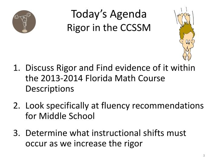 Today s agenda rigor in the ccssm