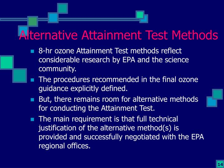 Alternative Attainment Test Methods