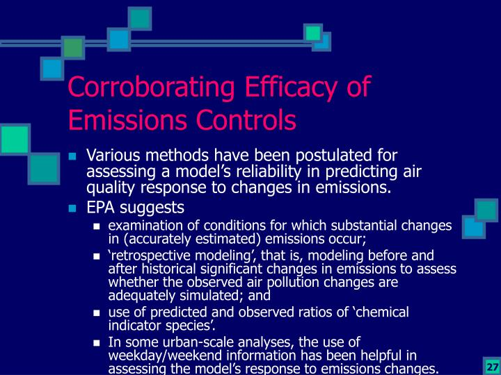 Corroborating Efficacy of Emissions Controls