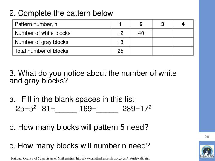 2. Complete the pattern below