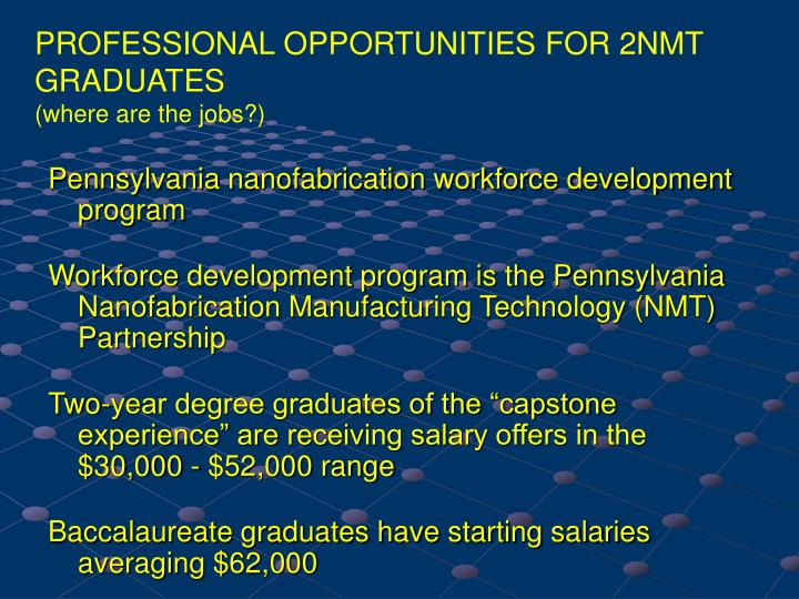 PROFESSIONAL OPPORTUNITIES FOR 2NMT GRADUATES