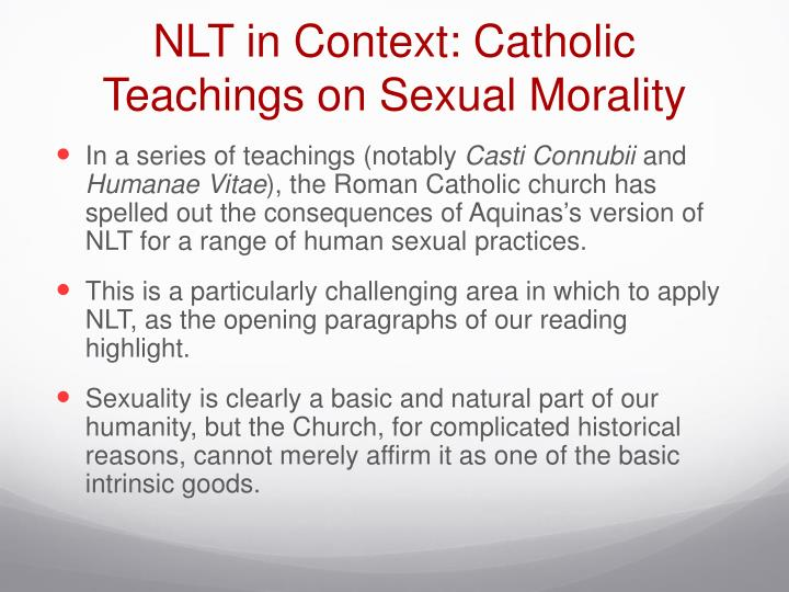 NLT in Context: Catholic Teachings on Sexual Morality