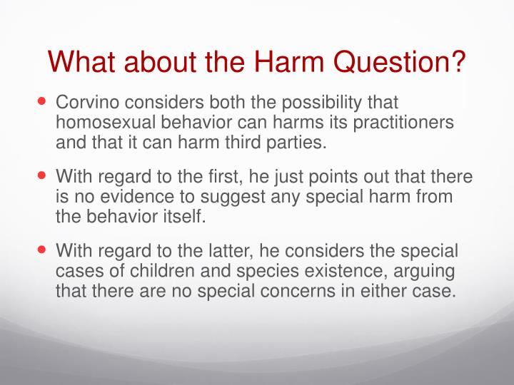 What about the Harm Question?
