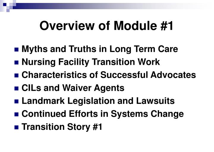 Overview of Module #1