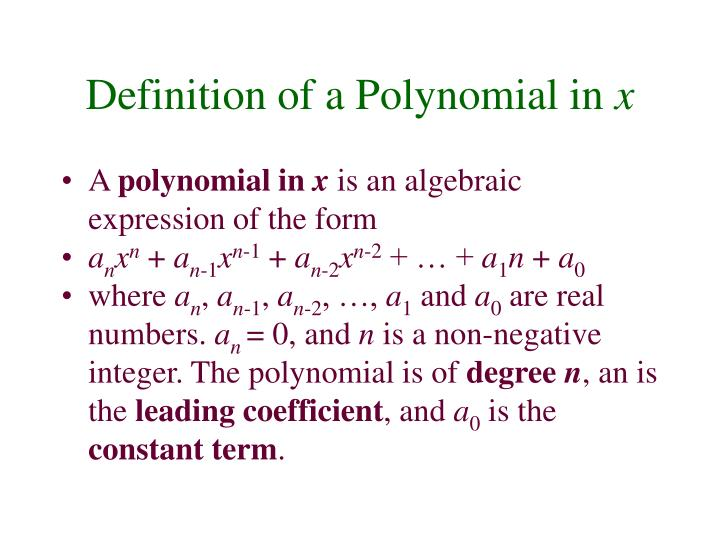 Definition of a Polynomial in