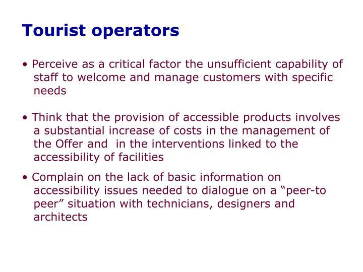 Tourist operators