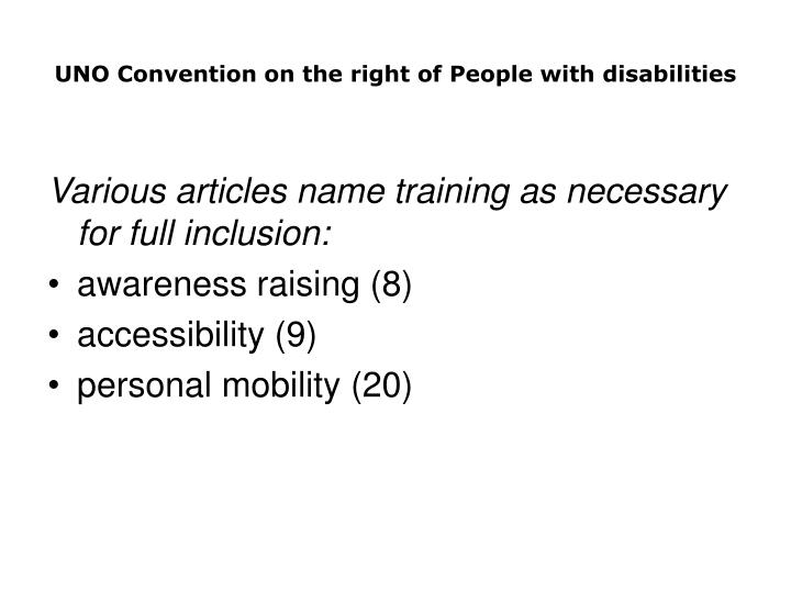 UNO Convention on the right of People with disabilities