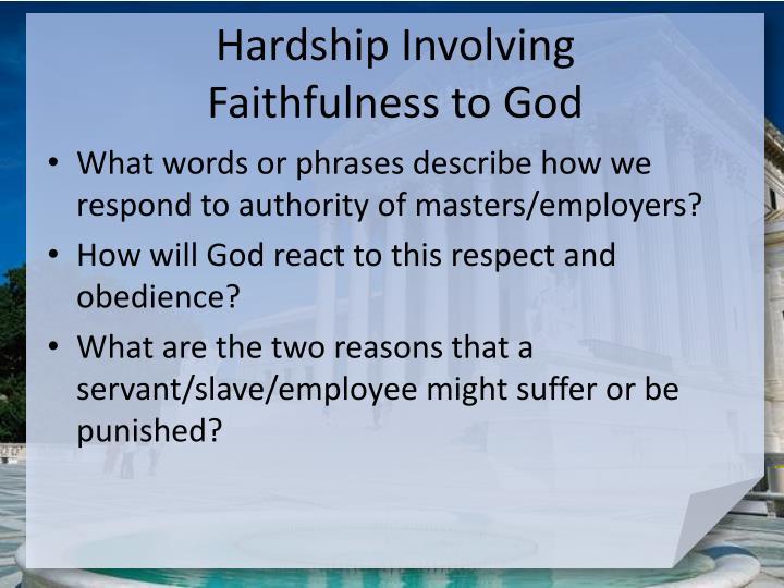 Hardship Involving