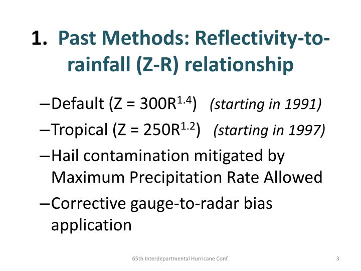 1 past methods reflectivity to rainfall z r relationship