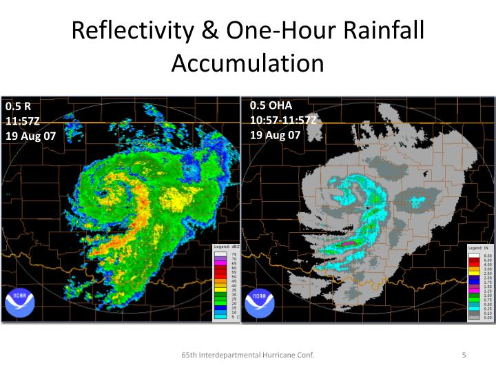 Reflectivity & One-Hour Rainfall Accumulation