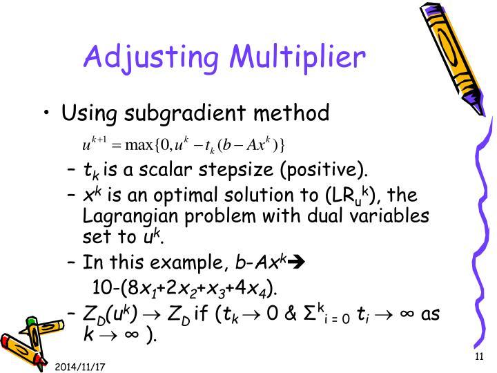 Adjusting Multiplier