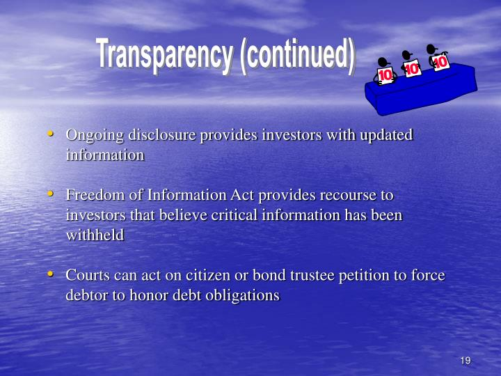 Transparency (continued)