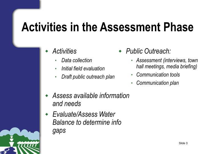 Activities in the assessment phase
