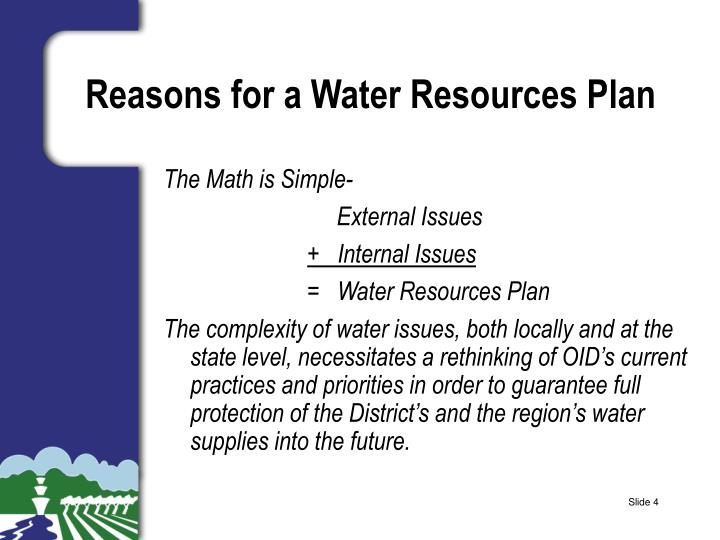 Reasons for a Water Resources Plan