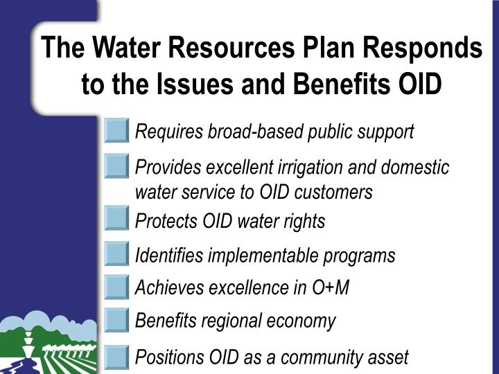 The Water Resources Plan Responds to the Issues and Benefits OID