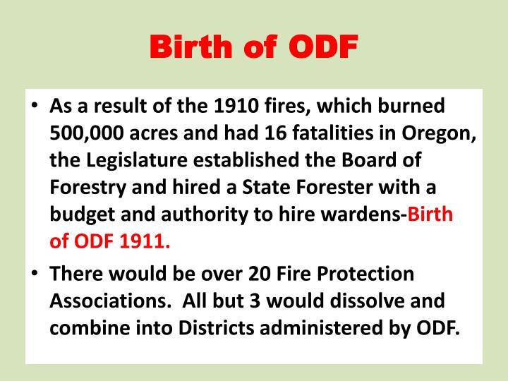 Birth of ODF