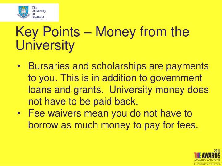 Key Points – Money