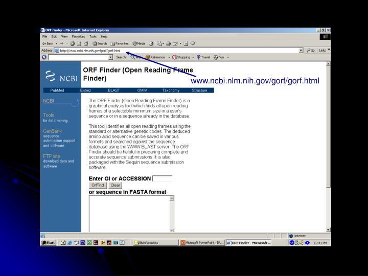 www.ncbi.nlm.nih.gov/gorf/gorf.html
