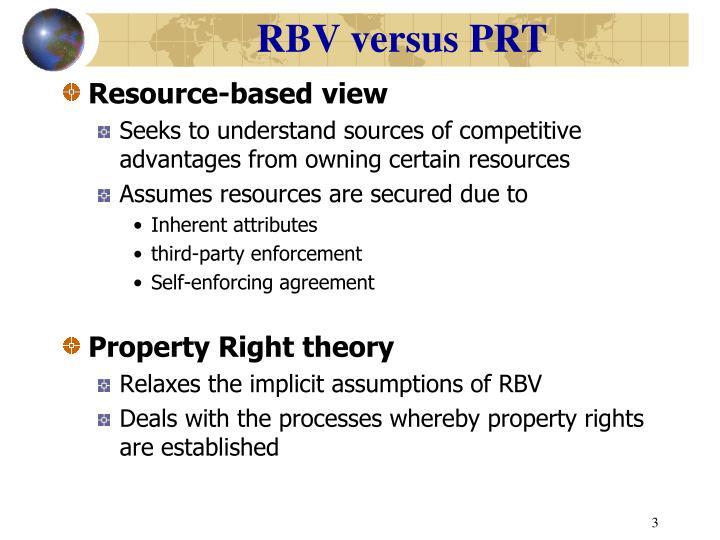RBV versus PRT
