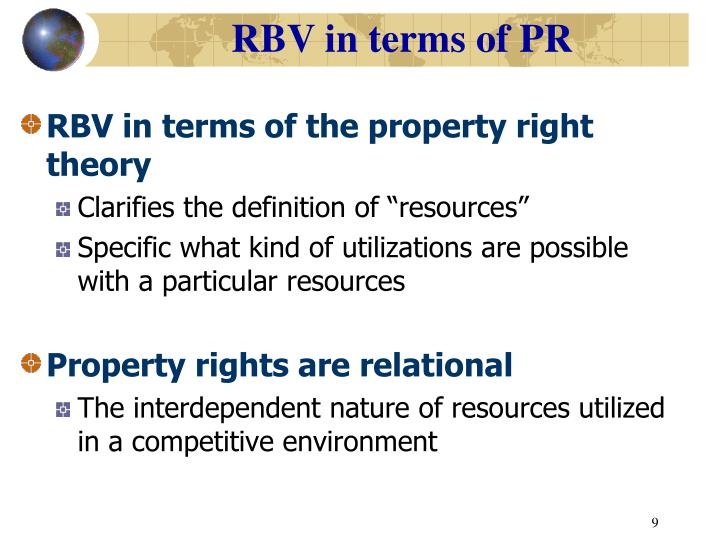 RBV in terms of PR