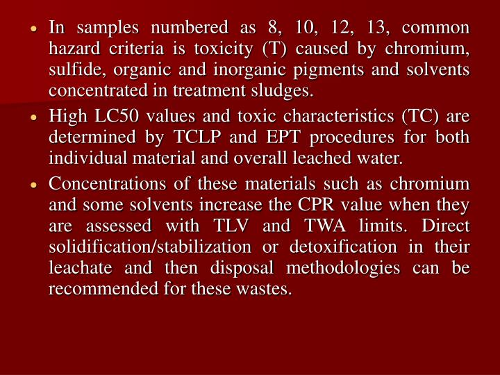In samples numbered as 8, 10, 12, 13, common hazard criteria is toxicity (T) caused by chromium, sulfide, organic and inorganic pigments and solvents concentrated in treatment sludges.