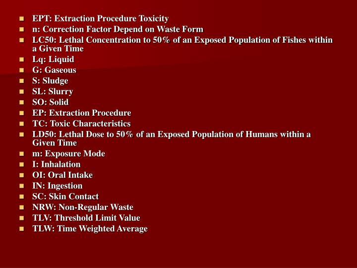 EPT: Extraction Procedure Toxicity