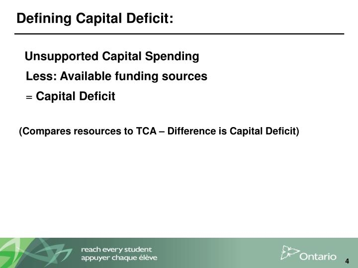 Defining Capital Deficit: