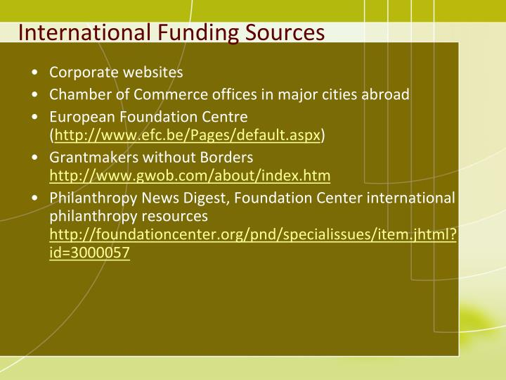 International Funding Sources