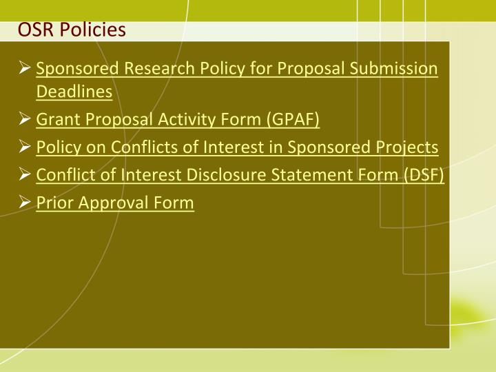 OSR Policies