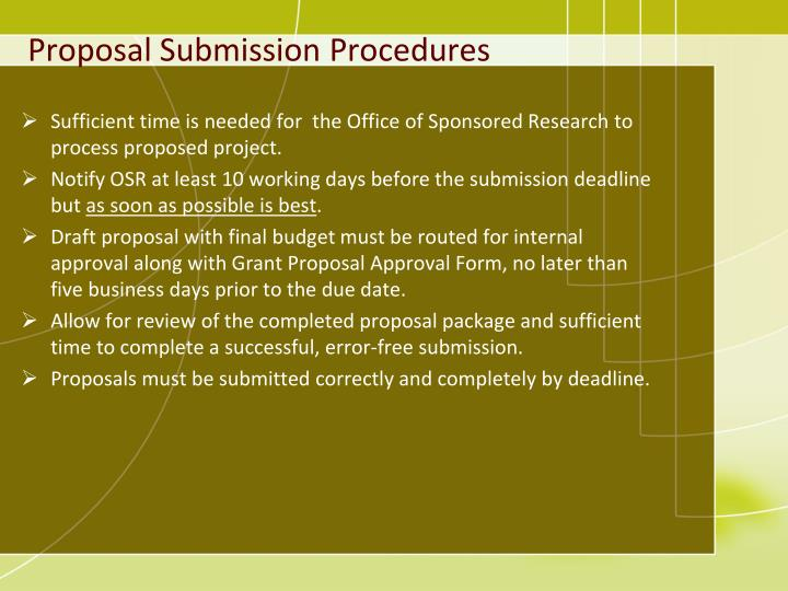 Proposal Submission Procedures
