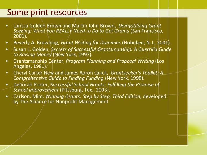 Some print resources