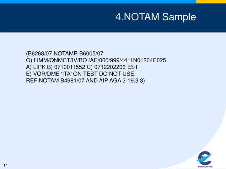 4.NOTAM Sample