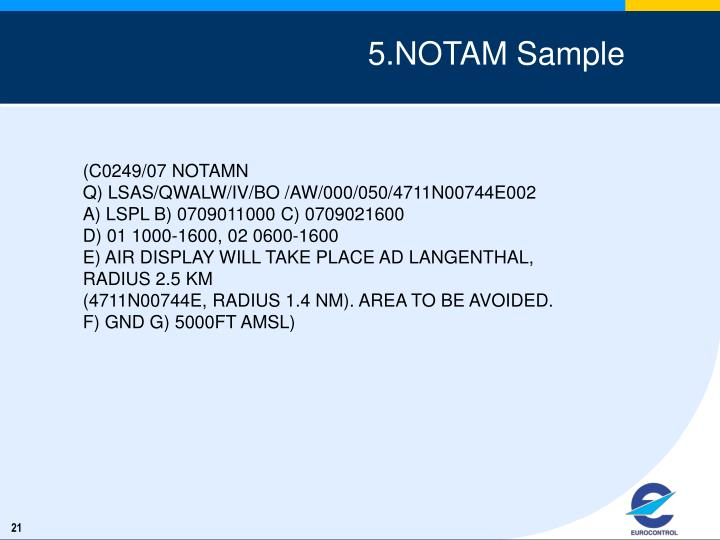 5.NOTAM Sample