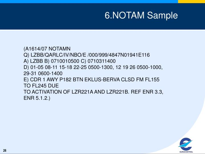 6.NOTAM Sample