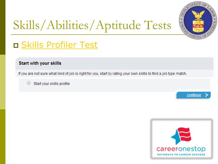 Skills/Abilities/Aptitude Tests
