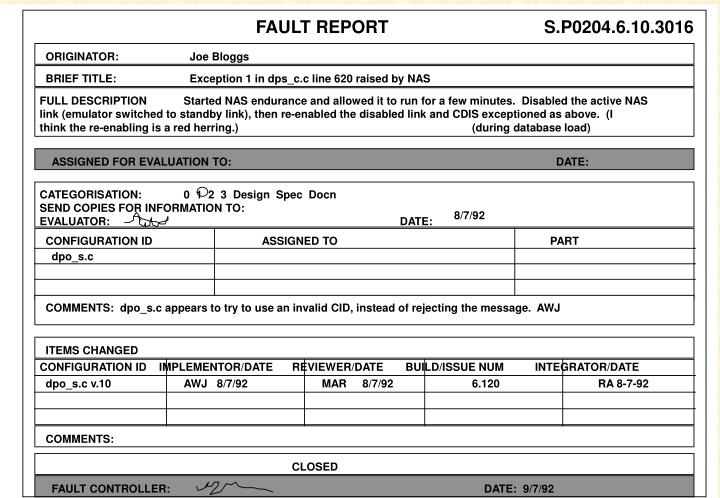 FAULT REPORT
