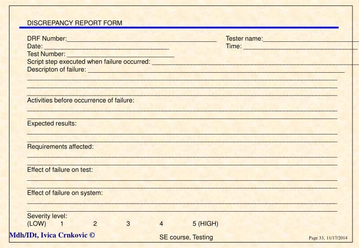 DISCREPANCY REPORT FORM