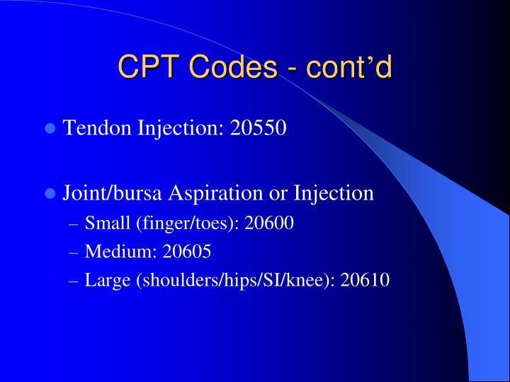 CPT Codes - cont