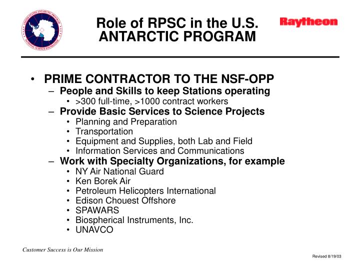 Role of RPSC in the U.S. ANTARCTIC PROGRAM