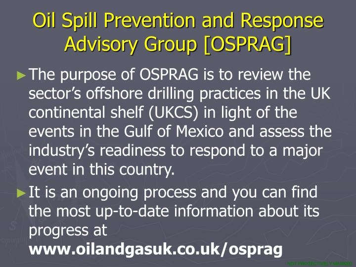Oil Spill Prevention and Response  Advisory Group [OSPRAG]