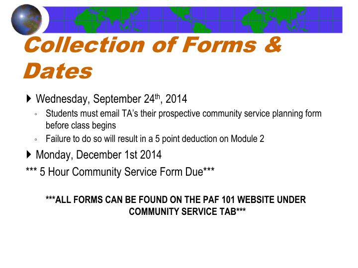Collection of Forms & Dates