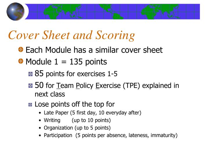 Cover Sheet and Scoring